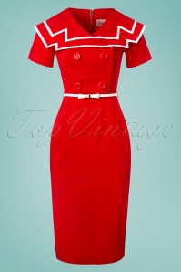 Tatyana Captain Pencil Dress Red 100 20 24865 20180420 0001W