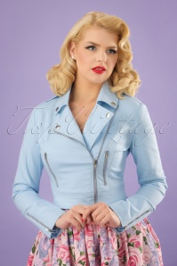 Collectif Clothing Outlaw Plain Biker Jacket in Pale Blue 22532 20171121 0010W
