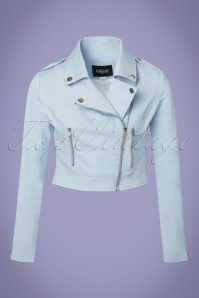 Collectif Clothing Outlaw Plain Biker Jacket in Pale Blue 22532 20171121 0002W