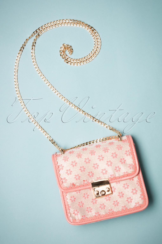Vintage & Retro Handbags, Purses, Wallets, Bags 60s Cecelia Floral Handbag in Peach £40.15 AT vintagedancer.com