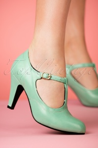 Lulu Hun Brittany T bar Heel Shoes in Mint 401 40 23770 25042018 002w
