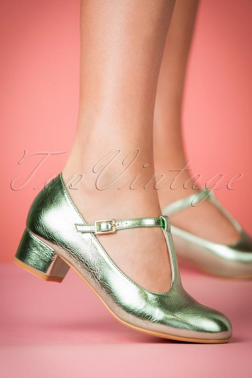 6768bb6d5d4 Lulu Hun Chrissie Block Heel Shoes in Green 401 40 23789 25042018 002w