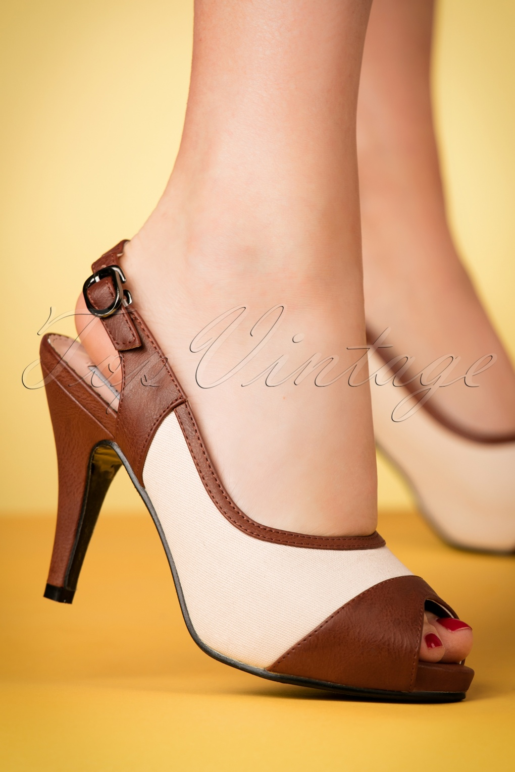 1940s Style Shoes, 40s Shoes 40s Luiza Pumps in Ivory and Brown £43.64 AT vintagedancer.com