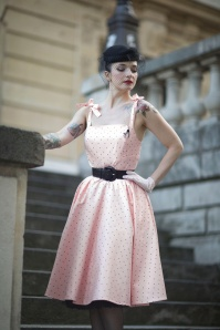 50s Hannah Polkadot Dress in Light Pink