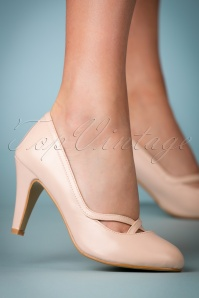 50s Clare High Heeled Pumps in Creamy Pink
