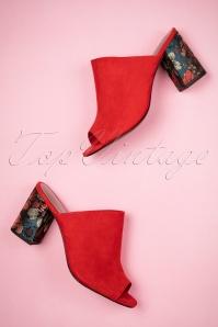 60s Margie Block Heel Sandals in Sangria Red