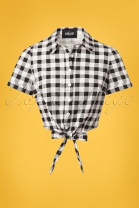 50s Sammy Vintage Gingham Tie Blouse in Black
