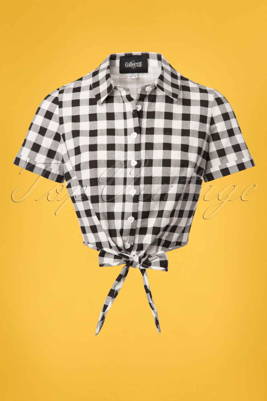 Sammy Vintage Gingham Tie Blouse Années 50 en Noir