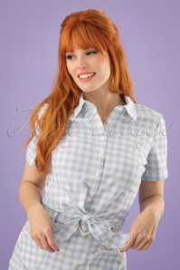 Collectif Clothing Sammy Vintage Gingham Tie Blouse 22812 20171121 1W