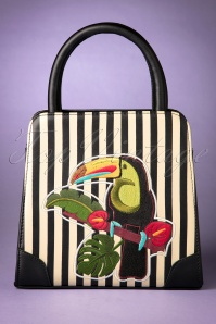 50s Toucan Striped Bag in Black