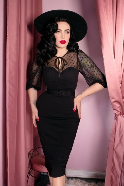 Vixen by Micheline Pitt Polkadot Mesh Pencil Dress 100 10 24625 20180420 02