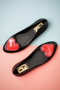 60s Larissa Heart Flats in Black