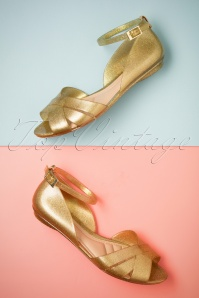 60s Abby Glitter Peeptoe Flats in Gold