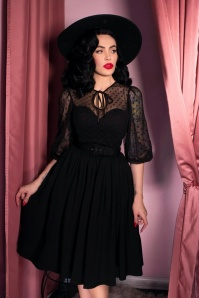 TopVintage exclusive ~ 30s Frenchie Swing Dress in Black