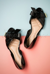 60s Abby Bow Peeptoe Flats in Black