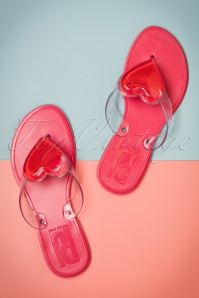 60s My Boo Heart Flip Flops in Pink