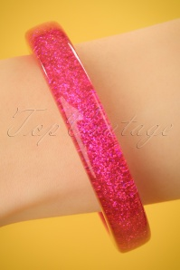 TopVintage Exclusive ~ 20s Fedora Midi Glitter Bangle in Fuchsia