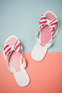 60s Striped Bow Flip Flops in White and Coral