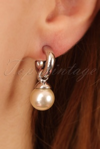 Betty Pearl Drop Earrings Années 50 en Argent
