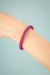 60s Beaded Bracelet in Fuchsia