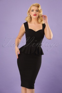 50s Mae Pencil Dress in Black