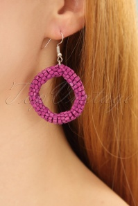 60s Beaded Earrings in Fuchsia