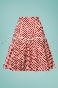 70s Ditsy Daisy Skirt in Red
