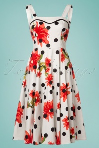 Hearts and Roses While Polkadot Floral Dress 102 59 24553 20180503 0014W