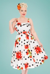 Hearts and Roses While Polkadot Floral Dress 102 59 24553 20180503 01