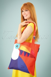 60s Toucan Tote Bag in Red