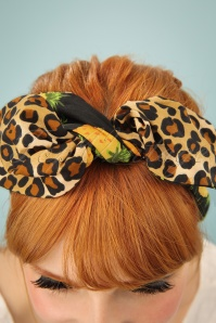 Be Bop A Hairbands Black Pineapple Leopard Hairbow 208 14 25474 3W