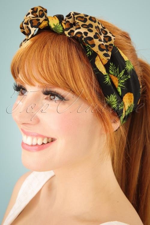 Be Bop A Hairbands Black Pineapple Leopard Hairbow 208 14 25474 1W