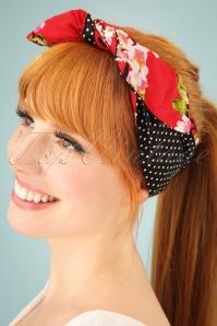 Cherry Blossom Hair Scarf Années 50 en Rouge et Noir