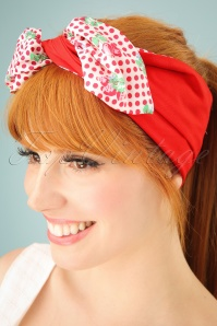 Cherry Polkadot Hair Scarf Années 50 en Blanc et Rouge