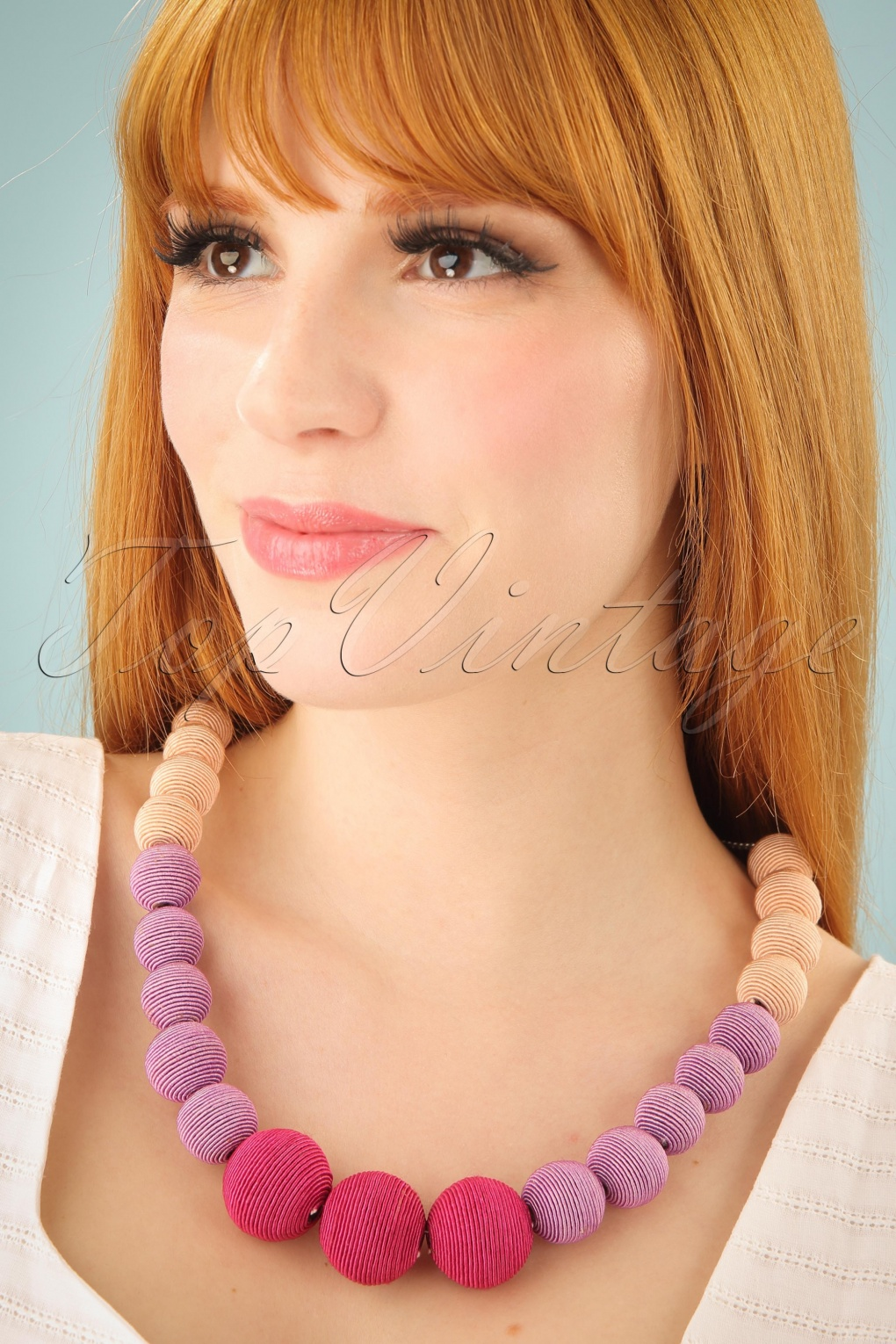 Vintage Style Jewelry, Retro Jewelry 60s Beauty and The Beads Necklace in Pink £17.49 AT vintagedancer.com