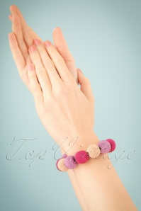 60s Beauty and The Beads Bracelet in Pink