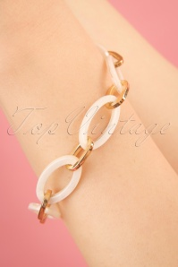 70s Lily Loop Bracelet in White and Gold
