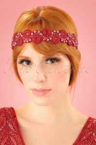 GatsbyLady 20s Eliza Embellished Headband in Red