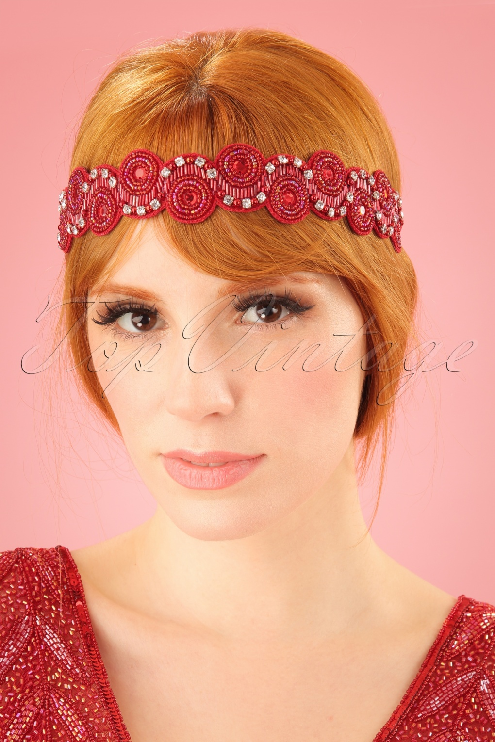 Vintage Hair Accessories: Combs, Headbands, Flowers, Scarf, Wigs 20s Eliza Embellished Headband in Red £20.31 AT vintagedancer.com
