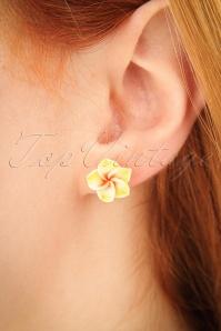 Tropical Flower Stud Earrings Années 50 en Jaune