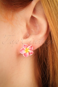 50s Tropical Flower Stud Earrings in Pink