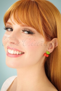Vitamin Cherry Stud Earrings Années 50 en Rouge