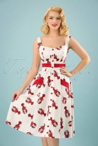 Sandrine Rock Lobster Swing Dress Années 50 en Blanc et Rouge