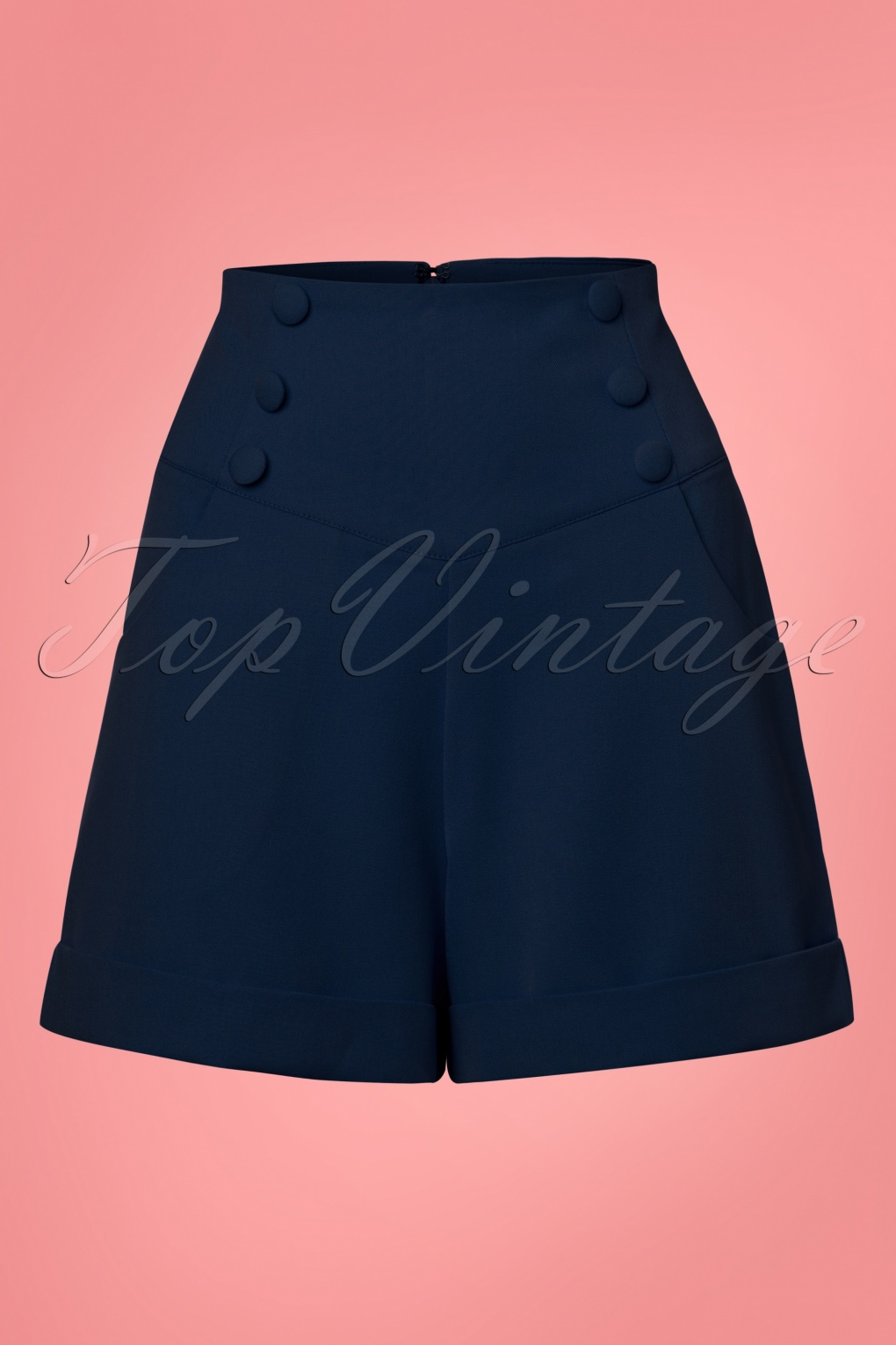 1950s Shorts History | Summer Clothing 50s Cute As A Button Shorts in Navy £32.86 AT vintagedancer.com