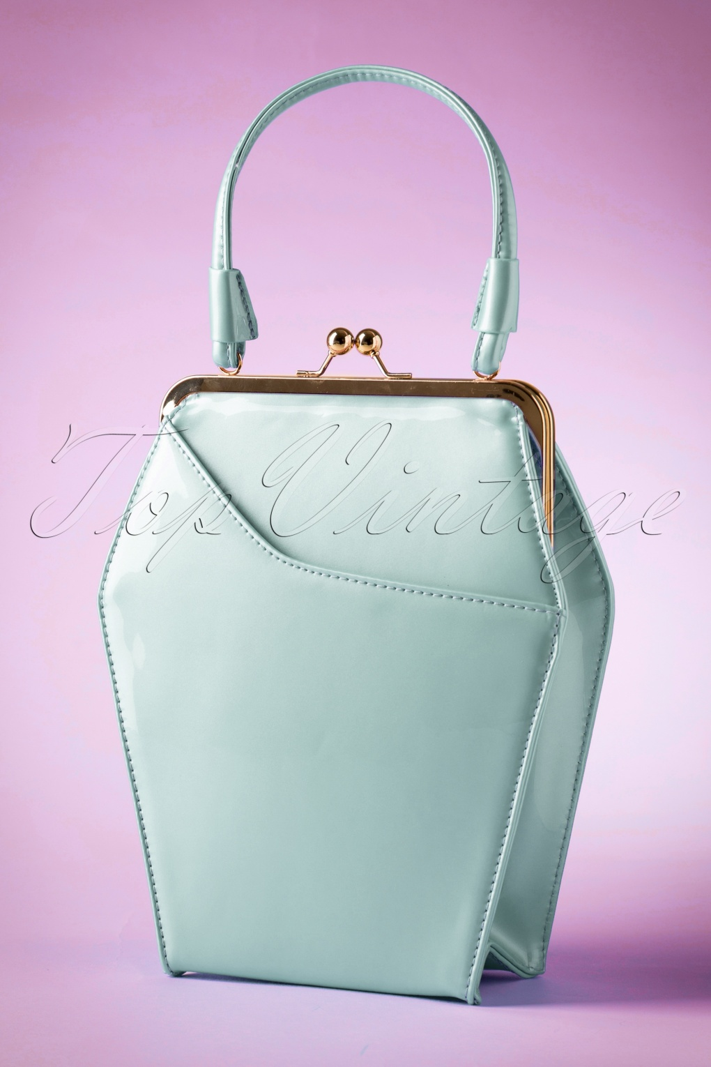 1950s Handbags, Purses, and Evening Bag Styles 50s To Die For Handbag In Ice Blue £64.49 AT vintagedancer.com