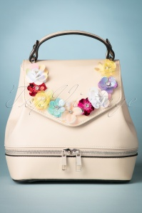 60s Floral Pouch Bag in Cream