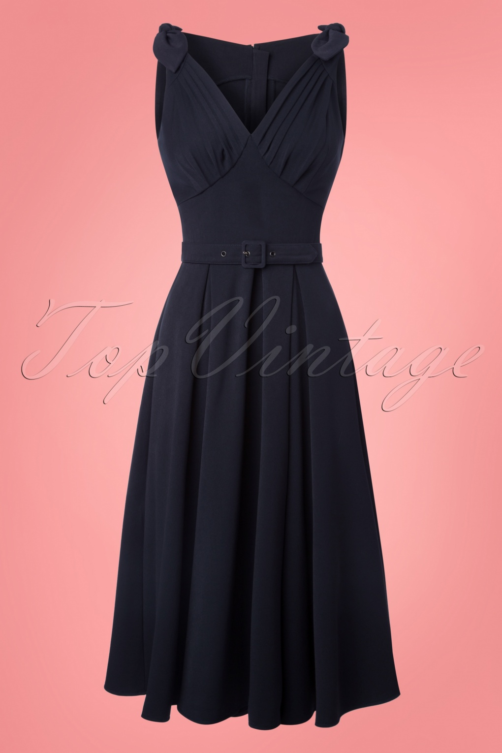 Pin Up Dresses | Pin Up Clothing 50s Marissa Lee Bow Swing Dress in Navy £90.15 AT vintagedancer.com