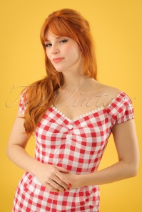 50s Dolores Gingham Top Carmen in Red and White
