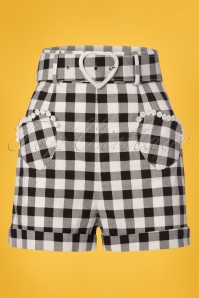 50s Lisa Vintage Gingham Shorts in Black