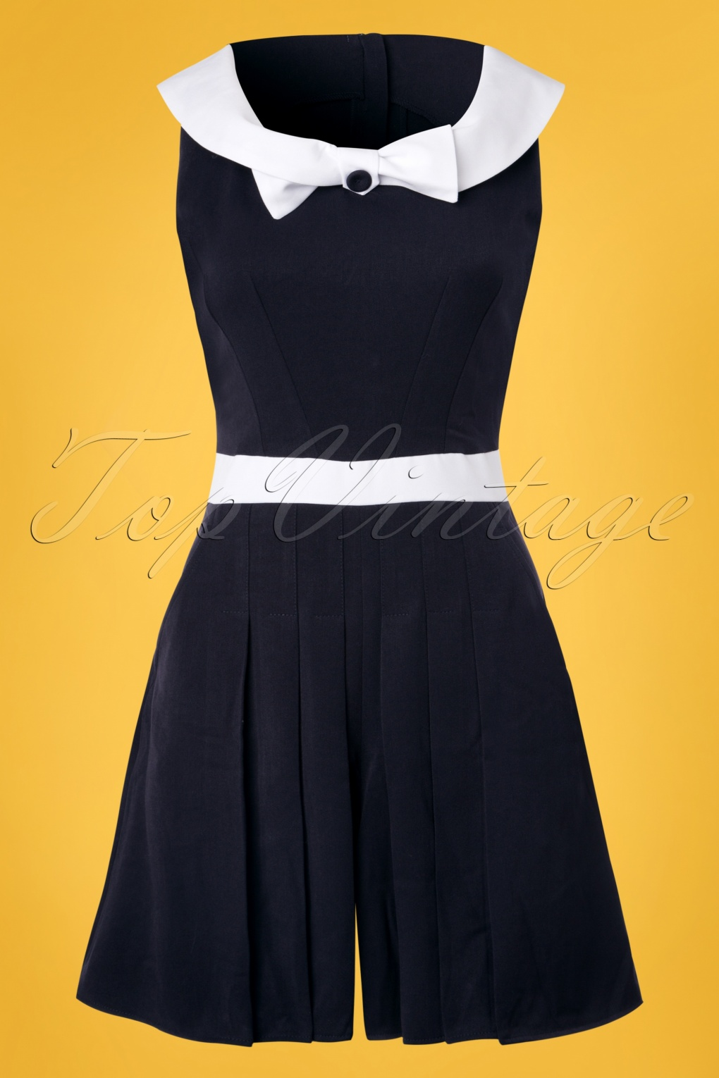 Sailor Dresses, Nautical Dress, Pin Up & WW2 Dresses 50s Maite Lee Playsuit in Navy and White £81.95 AT vintagedancer.com